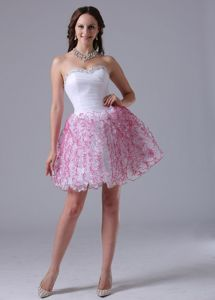 Lovely Side Zipper White Short Puffy Cocktail Prom Dress with Rhinestones