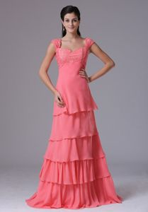 Chiffon Appliqued Tiered Watermelon Long Junior Prom Dress for Wholesale