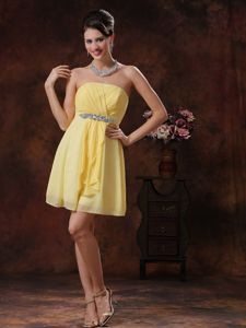 Lovely Strapless Chiffon Yellow Mini Prom Dress for Cocktail Party Clearance