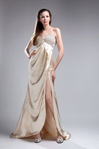 Sweetheart Beaded Slitted Champagne Prom Dress for Celebrity Online Shop