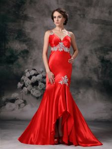 Surprising Crisscross Back Straps Appliqued Red Prom Attire High-low