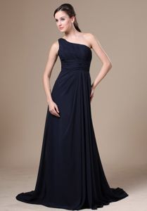 Stunning One Shoulder Side Zipper Navy Blue Long Dress for Prom on Sale