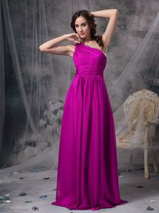 One Shoulder Fuchsia Maxi Prom Dress in Chiffon in Broadview Heights USA