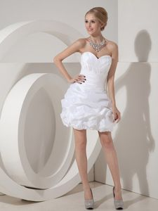 2014 Unique White Mini Prom Dress with Pick-ups and Button Down Back