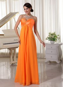 Fashionable Lace-up Sweetheart Orange Long Prom Outfits in Brooklyn USA