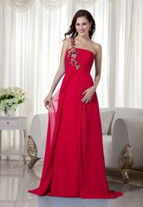 Classic One Shoulder Red Long Formal Prom Dress with Appliques on Discount