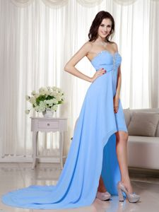 Best Chiffon High-low Beaded Baby Blue Prom Gown Dresses under 150