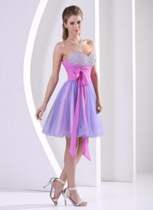 2013 Qualified Lavender and Lilac Short Prom Dress with Beading and Sash