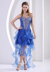 New Sweetheart Beaded Royal Blue Junior Prom Dress with Asymmetrical Hem