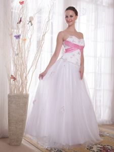 Top A-line Sweetheart Lace-up White Prom Attire with Beading Online Shop