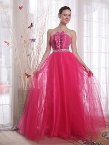 Fashionable Lace-up Hot Pink Formal Dress for Prom with Beading and Ruffles