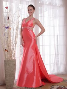 Top Crisscross Back Beaded Watermelon Red Formal Prom Dress Watteau Train