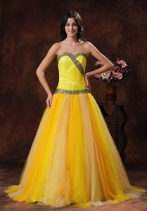 Latest Princess Lace-up Yellow Formal Prom Outfits with Beading under 150