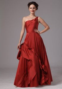 Hot Sale A-line One Shoulder Wine Red Formal Dress for Prom in Taffeta
