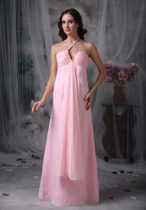 Zipper-up Halter Baby Pink Long Chiffon Prom Dress for Summer on Sale