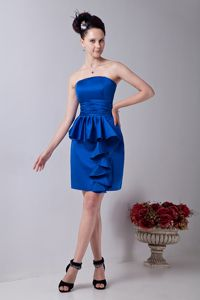 Strapless Mini-length Royal Blue Prom Dress with Ruffles under 100 Free Shipping