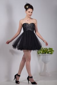 Mini-length Sweetheart Black Semi-formal Prom Dresses Affordable 2013
