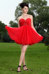 Fashionable Sweetheart Mini Red Prom Dress with Beading for Cocktail Party