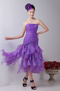Best Strapless Ruched Ruffled Lavender Prom Dress with Asymmetrical Hem