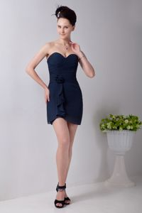 Recommended Sweetheart Mini-length Navy Blue Prom Attire for Sale