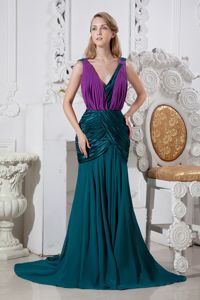 V-neck Peacock Green and Purple Chiffon Formal Dress for Prom in Canton OH