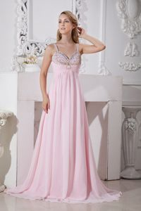 Latest Straps Light Pink Brush Train Beaded Formal Prom Outfits under 150