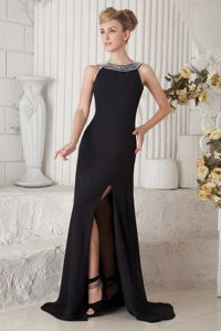 Clearance Chiffon Black Slitted Prom Gown Dress with Beaded Bateau Neck