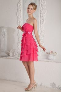 Exquisite Strapless Chiffon Hot Pink Short Prom Dress with Sash under 100