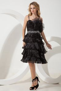 Gorgeous Spaghetti Straps Tiered Pleated Black Prom Dresses for Summer