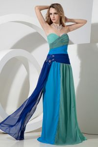 Magnificent Zipper-up Ruched Multi-color Long Prom Dress in Style