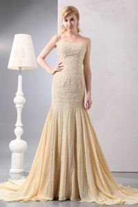 Fashionable Court Train Beaded Champagne Formal Prom Gowns on Sale