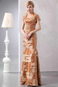 Elegant Brown Beaded Floor-length Dress for Prom with Straps and Layers