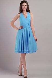 Modest Aqua Blue Halter Knee-length Semi-formal Prom Dress in Lake City