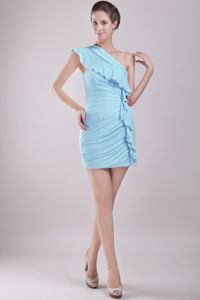Baby Blue One Shoulder Mini-length Dresses for Formal Prom with Layers