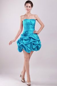 Lovely Teal Strapless Mini-length Junior Prom Dress with Pick-ups in Eudora