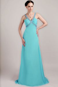 Sexy Backless Aqua Blue Beaded Brush Train Prom Gown Dresses in Derby