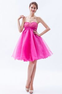 Lovely Hot Pink Beaded Sweetheart Mini-length Junior Prom Dress in Kansas