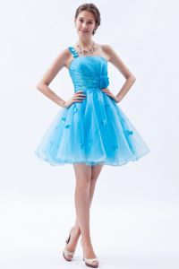 Aqua Blue Mini-length Dresses for Formal Prom with Appliques and Flowers