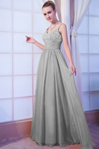 Elegant Grey Brush Train Beaded Prom Gown Dress with Straps in Greenfield