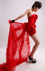 Gorgeous Strapless Red Watteau Mini-length Junior Prom Dress with Flowers