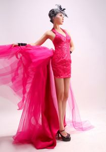 New Arrival Hot Pink Halter Watteau Train Senior Prom Dress with Sequins