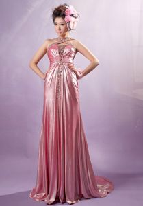 Unique Light Pink Ruched Court Train Formal Prom Dress with Cross Straps