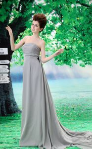 Modest Grey Ruched Strapless Court Train Semi-formal Prom Dress in Morris