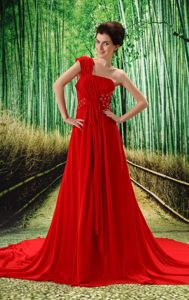 Red Ruched One Shoulder Court Train Senior Prom Dresses with Appliques