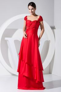 Luxurious Red Cap Sleeves Floor-length Dress for Formal Prom with Layers