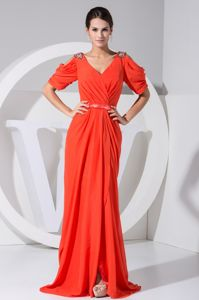 Red V-neck Open Sleeves Ruched Floor-length Senior Prom Dress with Slit