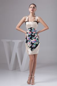 Multi-color Mini-length Semi-formal Prom Dress with Straps and Print in Barry