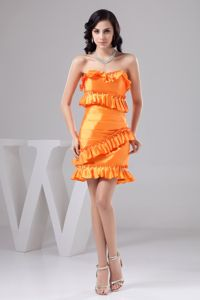 Bright Orange Strapless Ruched Mini-length Dresses for Prom with Ruffles