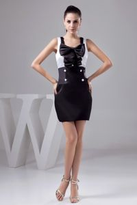 Black and white Square Mini-length Prom Dresses with Bowknot and Button