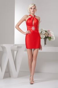 Sexy Red Mini-length Prom Gown Dress with Straps and Cutout in Columbia
